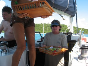 Capt. Bobby & First Mate serving gourmet lunches